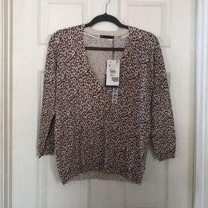 NWT Zara Knit leopard button front cardigan medium
